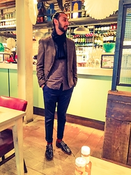 Dalbir Virdee - Primark Tweed Blazer, All Saints Vineland Shirt, Hugo Boss Blue Trousers/Pants, Grenson Black Monk Strap Shoes, Cp Company Navy Wool Ribbed Scarf - Bill's Place