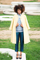 Thaina Madere - Express Pants, Kurt Geiger Shoes - Yellow Coat