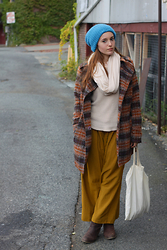 Valentina Duracinsky - Thrifted Beanie, Bb Dakota Coat, André Booties - Winter Blues