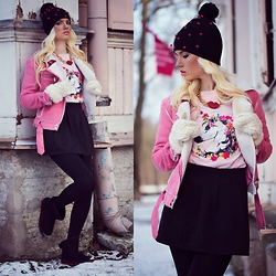 Oksana Orehhova - Rosegal Jacket, Rosegal Sweatshirt, Rosegal Hat, Rosegal Necklace - TRASHY WINTER PRINCESS