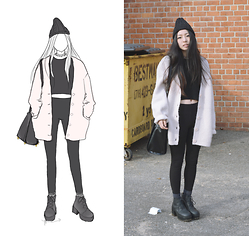 Yonish - Morning Glory Knit Beanie, H&M Knit Cardigan, H&M Leather Bag, H&M Platform Boots - Oversized Pink
