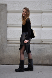Patrizia St - Petar Petrov Skirt, Strategia Boots, Furla Bag - These boots are made for walking