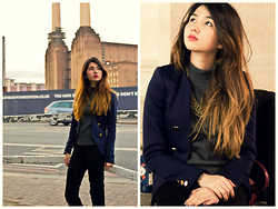Aki Ataka - H&M Navy Blazer With Gold Buttons, H&M Gold Necklace, Acne Studios Grey High Neck Top - Battersea Blues