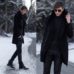 Georg Mallner - Zara Coat, Uniqlo Turtle Neck, Hugo Boss Waxed Pants, Dr. Martens Jayvon Boots - February 02, 2015