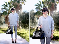 M+C . - Pimkie Oversized Sweater, H&M Metallic Trousers - Le Gris