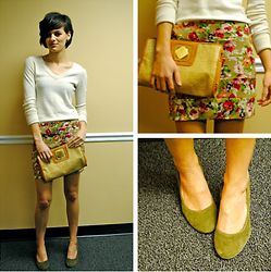Huntress W. - Ae V Neck Sweater, Thrifted Floral Skirt, Thrifted Clutch, Target Wedges - Gallery