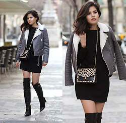Adriana Gastélum - Fashionpills Grey Jacket, Fashionpills Side Zipper Dress, Reiss Leopard Clutch, Reiss Over The Knee Boots - Dare to the cold