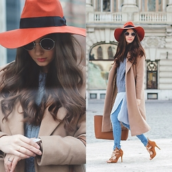 Larisa Costea - Black Five Hat, Romwe Sweater, Persun Sandals, Daniel Wellington Watch - The orange hat