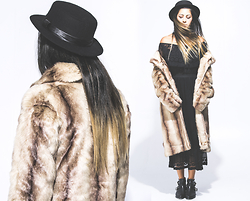 Hind Adib - Unreal Fur Lady Coat, Jeffrey Campbell Black Boots - Empire State of Mind.
