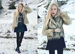 Adela C. - Zara Faux Fur Coat, Forever 21 Old F21 Sweater, Black Dress - Be the void