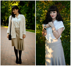 Leila Mustafaeva - Zara Skirt, Mango Blouse, New Look Cardigan - Creamy milk