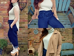 Carmen Ri - Pull & Bear Mint Roll Neck, Pull & Bear Waist Tie Jeans, Nasty Gal Sheer Trench, Deandri Helgas In White - Rollin'