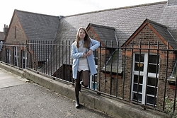 Nora Lauff - Primark Coat, New Look Sweater, H&M Skort, New Look Boots - That pastel blue coat