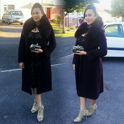 LaRizze C - River Island Burgundy Coat, Tk Maxx Laced Clutch, Internacionale Gold Heels - Glamming it up a notch