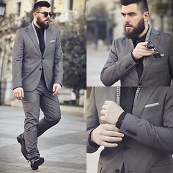 Gabriel - Zara Suit, Asos Tie, Ray Ban Sunglasses - Gray Zone