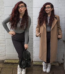 Olivia Lynn - Missguided Camel Coat, Topshop Long Sleeve Grey Crop, Charity Shop Navy Check High Waist Trousers, Atmosphere Faux Leather Rucksack, Nike Air Force 1 Hi - Camel Check