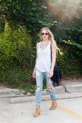 Payton Sartain - Project Social T Tank, Bdg Bf Jeans, Kelsi Dagger Suede Booties, Urban Outfitters Statement Necklace - Updated Casual