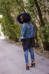 Jennifer W - H&M Jean Jacket, Trend Over Sized Cardigan, H&M Boyfriend Jeans, H&M High Heel Mules - Light Layers