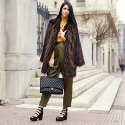 Konstantina Tzagaraki - Fauxfur, Turtleneck, Chanel Bag, Shoes - Words r just words.it's the feelings that makes them special