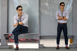 The Filo Dapper - Bench Button Down Shirt, H&M Denim, Paul Smith Socks, Esprit Sunglasses, Tw Steel Wrist Watch, Dries Van Noten Canvas Oxfords - Commuter