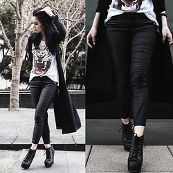Kerstyn Inouye - Cotton On Faux Leather Pants, Cotton On Tiger Tee - Dipped in Black