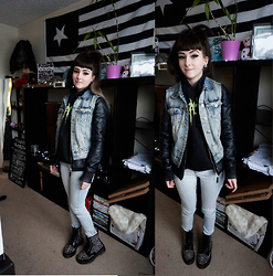 Mimi Kitten - Denim Vest, Vegan Leather Jacket, Dr. Martens Spike All Stud 8 Eye - Bad Ass
