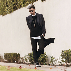Tommy Lei - Tom Ford Wayfarer Sunglasses, Acne Studios Double Breast Blazer, Lzzr Jewelry Identity Necklace, Candy And Caviar Waffle Knit Sweater, Topman Pinstripe Trouser, Chapter Long Cardigan, Tod's Velcro Leather Sneakers - LAYERS