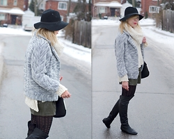 Liat Neuman - Club Monaco Jacket, Zara Leather Shorts, Bcbg Boots, Urban Outfitters Scarf - Winter days