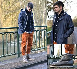 Boris Cornilleau - Norse Projects X Elka Raincoat, S.N.S Herning Starck Cardigan, Norse Projects Aros Heavy Chinos, Grenson Fred Boots - XXXXXXIX - Villeray