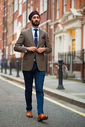 Dalbir Virdee - Grenson G Zero, Hugo Boss Blue Pany/Trouser, Aquascutum Checked Blazer, Aquascutum Blue Popplin Shirt, Reiss Pink/Blue Pocket Square, Tm Lewin Navy Knitted Tie, Tm Lewin Silver Plain Tie Pin, Own Brown/Burgundy Turban - Photographed by Singh Street Style #2