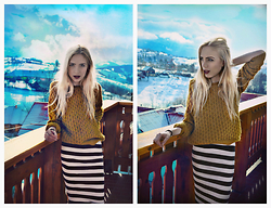Adela C. - H&M Mustard Sweater, Zara Bold Stripes Skirt - Dum spiro, spero