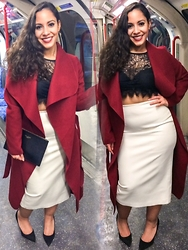 Andrea Da Silva - Michael Kors Hoop Earrings, Ted Baker Clutch, Knya Boutique Paris Waterfall Coat, Zara Faux Leather Midi Pencil Skirt, Dune London Suede Heels - Friday night