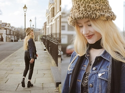 Alice Young - Charity Shop Leopard Print Hat, Charity Shop Denim Jacket, Charity Shop Jeans, Vagabond Boots, Charity Shop Scarf, Charity Shop Guitar Brooch - Sunday Morning