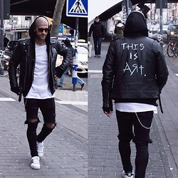 Kosta Williams - Selfmade Biker Jacket, H&M White Tee, Asos Skinny Jeans ( Self Customized ), Adidas Superstar 2 - This is art .