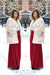 Katherine Tabinowski - Pins And Needles Maxi Skirt, H&M Faux Fur Coat, Project Social T V Neck Tee, Revlon Colorburst Matte Balm In Standout - Bohemian Valentine