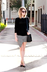 Laura P - Knit Sweater, Striped Dress, Satchel, Ankle Chain Pumps - Stripes