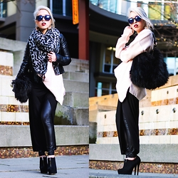Aika Y - Asos Mirrored Sunglasses, H&M Biker Jakcet, Zara Oversized Knit, Zara Wrap Skirt, Forever 21 Coated Jeggings, Asos Ankle Boots, Forever 21 Printed Scarf, H&M Fur Bag - Blow Your Mind