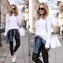Silvia P. - Zara Knit, Laura Maxim Bucket Bag - White power