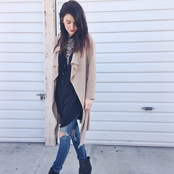 Rachel Fox - Unif Trench Coat, Urban Outfitters Shirt, Ag Jean Denim, Joe's Jeans Boots - Trench town