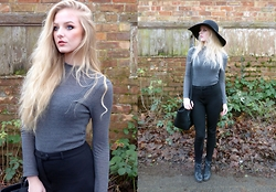 Alix E - H&M Floppy Hat, Topshop Roll Neck Top, Topshop High Waisted Trousers, Fiorelli Bag, H&M Boots - Neutral