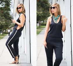 Didi Ibarra Rake - Charm Bijoux Statement Necklace, Zara Jumpsuit - Turquoise this!
