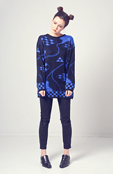 Emilie Martin - Inpasttimes 1990s Black And Blue Metallic Knit Sweater - Triforce