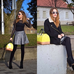 Iva S. - Calliope Silver Skirt, H&M Shirt, Furla Candy Bag, H&M Jacket, Asos Sunglasses, Jeffrey Campbell Ankle Boots - Night version of silver skirt