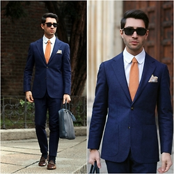 Filippo Fiora - Louis Vuitton Document Holder, Suitsupply Suit, Cartier Sunglasses, Tangerine Shoes - MILANESE
