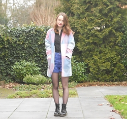 Iris K - Primark Pastel Coat, H&M Black Blouse, New Look High Waisted Shorts, Primark Tights, Dr. Martens Boots - Sweet as sugar