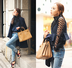 MJ KIM - Saint Laurent Bag, Jimmy Choo Sandals - Dot blouse dayout