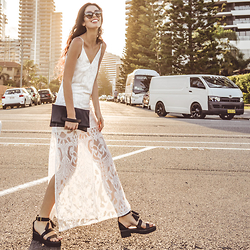 Elle-May Leckenby - White Lace Split Dress, Black Roll Clutch, Black Tassel Sandals, Cherry Cat Frame Sunglasses - Golden Coast