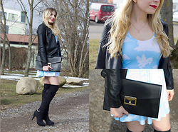 Elina Wagner - Black Milk Clothing Clouds Reversible Skater Dress, Forever 21 Faux Leather Moto Jacket, H&M Boots With Gold Details, Primark Clutch - Valentine's Day