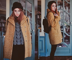 Rebecca A - &Other Stories Beanie, Tara Jarmon Coat - Slightly floating