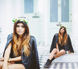 Kavita D - Rocknrose Floral Crown, Ebay Bindi, Faux Leather Jacket, Boohoo Lace Shorts, Dr. Martens Dr - February Florals.